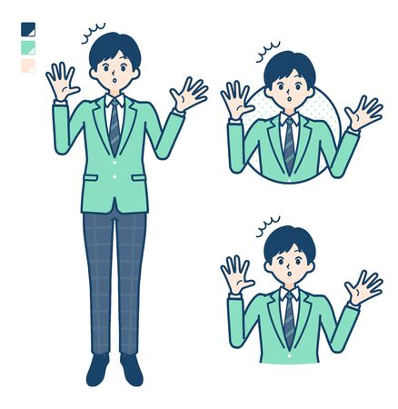 A student boy in a green blazer with surprised images.It's vector art so it's easy to edit.