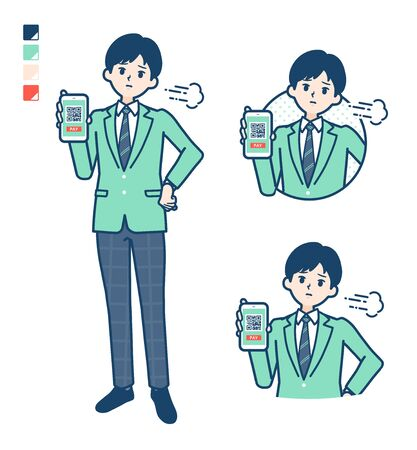 A student boy in a green blazer with cashless payment on smartphone Troubled images.It's vector art so it's easy to edit.