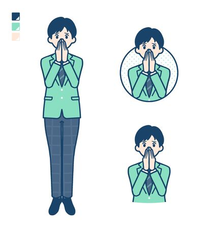 A student boy in a green blazer with Surprised and uneasy images.