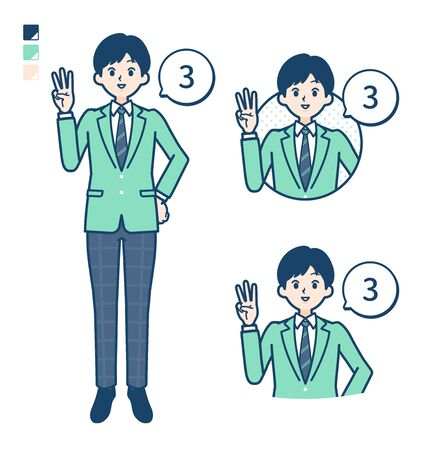 A student boy in a green blazer with Counting as 3 images.