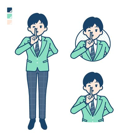 A student boy in a green blazer with be quiet hand sign images.