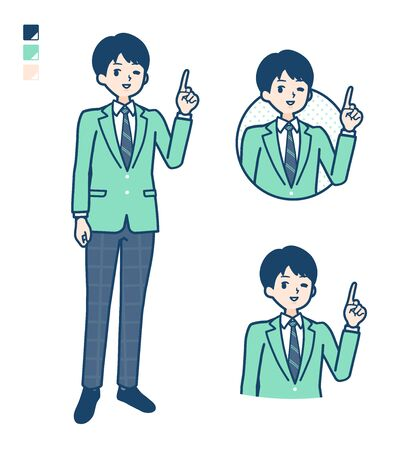 A student boy in a green blazer with pointing hand sign images.