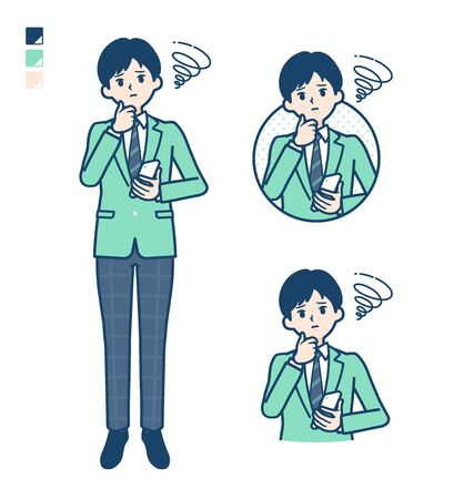 A student boy in a green blazer with Holding a smartphone and troubled images.It's vector art so it's easy to edit. Фото со стока - 147461903