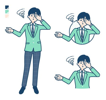 A student boy in a green blazer with Discouraged head images.