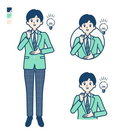 A student boy in a green blazer with came up with images.