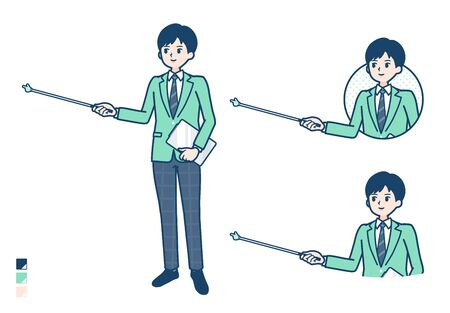 A student boy in a green blazer with Explanation with a pointing stick image.It's vector art so it's easy to edit. Illusztráció