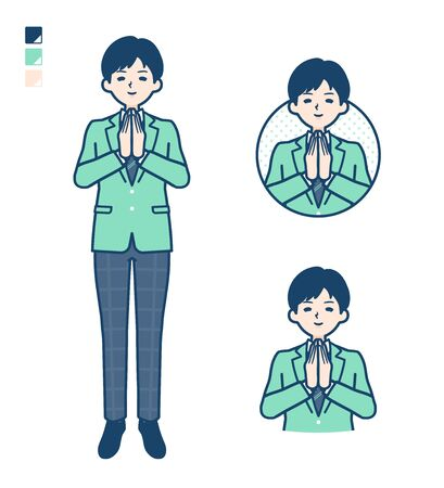 A student boy in a green blazer with press hands in prayer images.It's vector art so it's easy to edit.