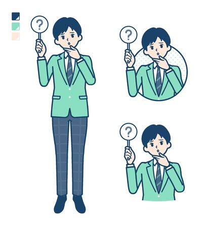 A student boy in a green blazer with Put out a question panel image.It's vector art so it's easy to edit.