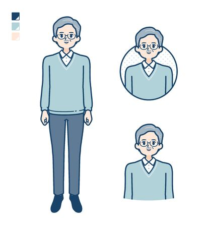 Senior Man with Smiling images.It's vector art so it's easy to edit.