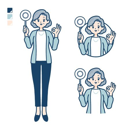 Senior woman in a suit with Put out a circle panel image.