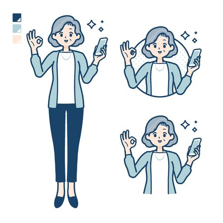 Senior woman in a suit with Holding a smartphone and doing an OK sign images.It's vector art so it's easy to edit.