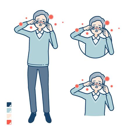 Senior Man with Suffer from pollen allergy images.It's vector art so it's easy to edit. Stock Illustratie