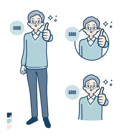 Senior Man with Thumbs up images.It's vector art so it's easy to edit.