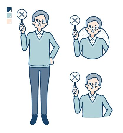 Senior Man with Put out a cross panel image.