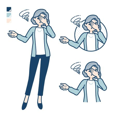 Senior woman in a suit with Discouraged head images.It's vector art so it's easy to edit.