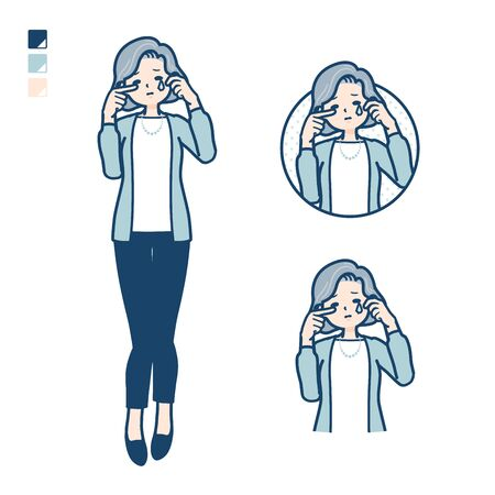 Senior woman in a suit with cry images.It's vector art so it's easy to edit.