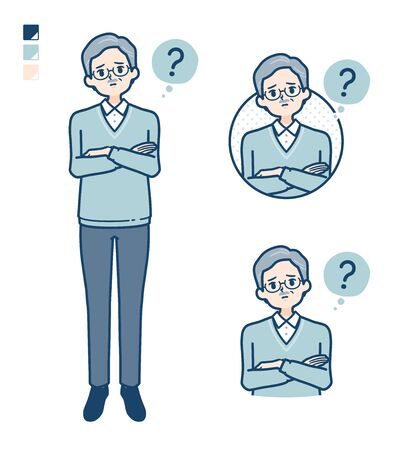 Senior Man with Question images.