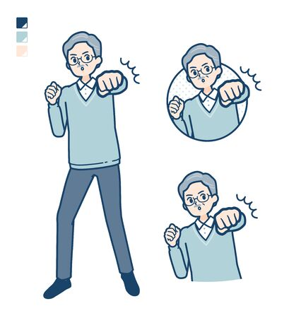 Senior Man with Punch in front images.It's vector art so it's easy to edit.