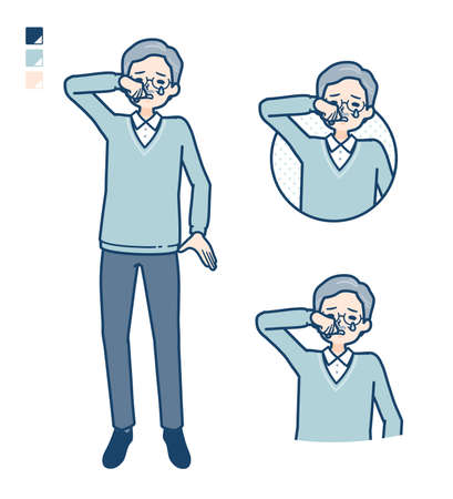 Senior Man with cry images.