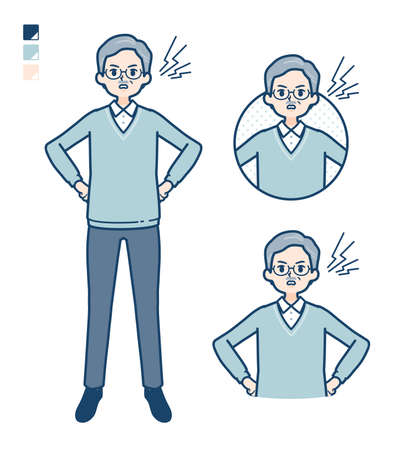 Senior Man with anger images.