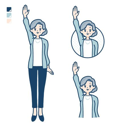 Senior woman in a suit with raise hand images.