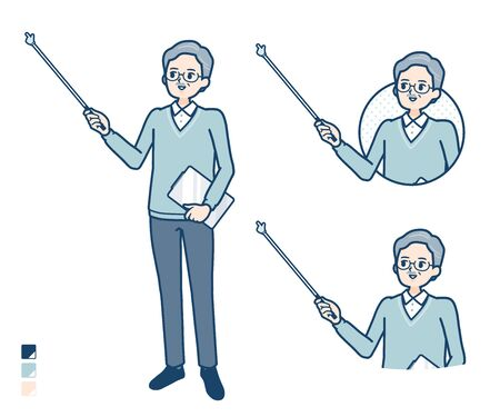 Senior Man with Explanation with a pointing stick image.It's vector art so it's easy to edit.