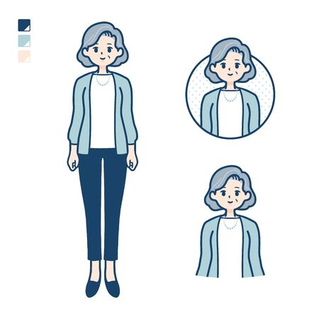Senior woman in a suit with Smiling images.It's vector art so it's easy to edit.