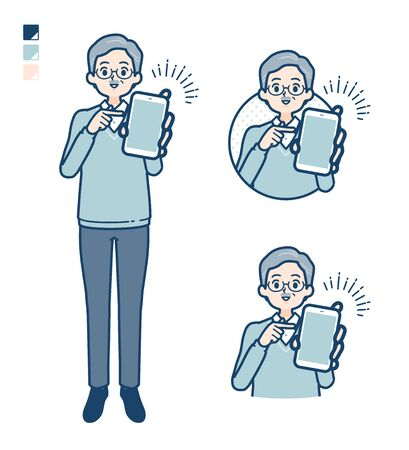 Senior Man with Offer a smartphone images.