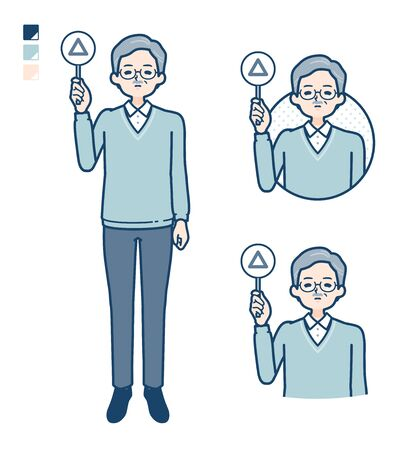 Senior Man with Put out a Triangle panel image.