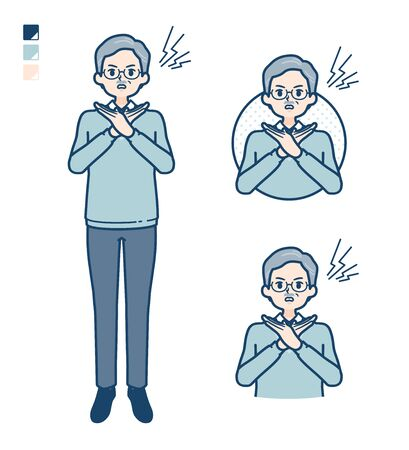 Senior Man with Making a Cross with arms images.It's vector art so it's easy to edit.