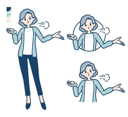 Senior woman in a suit with Discouraged images.It's vector art so it's easy to edit. 矢量图像