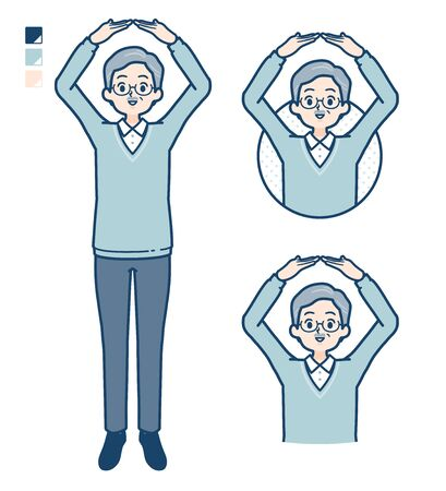 Senior Man with Making a circle with arms images.It's vector art so it's easy to edit.
