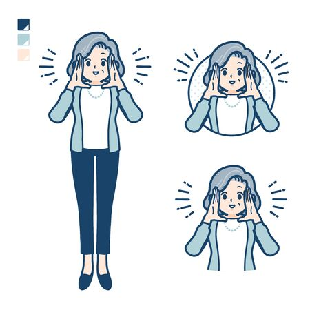 Senior woman in a suit with Calling out loud images.