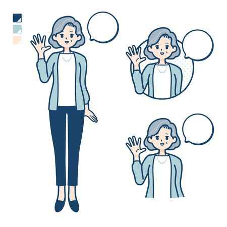 Senior woman in a suit with greeting images.It's vector art so it's easy to edit. Banco de Imagens - 150073775