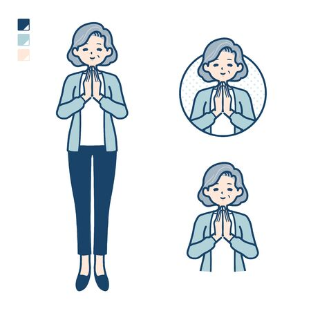 Senior woman in a suit with press hands in prayer images.