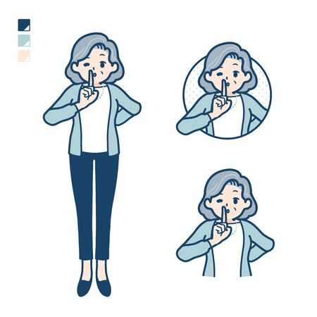 Senior woman in a suit with be quiet hand sign images.