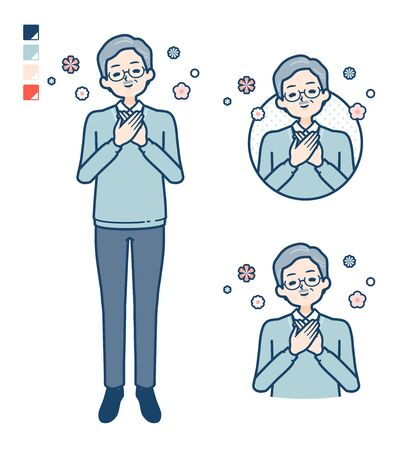 Senior Man with Rest images.It's vector art so it's easy to edit. 일러스트