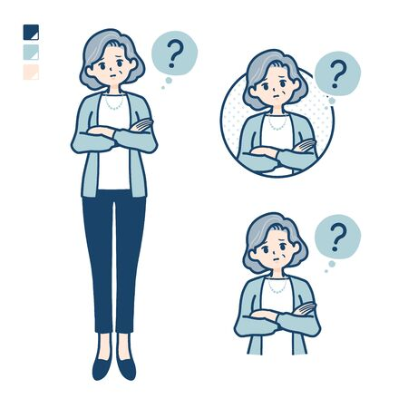 Senior woman in a suit with Question images.