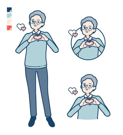 Senior Man with making a heart symbol by hand images.It's vector art so it's easy to edit.