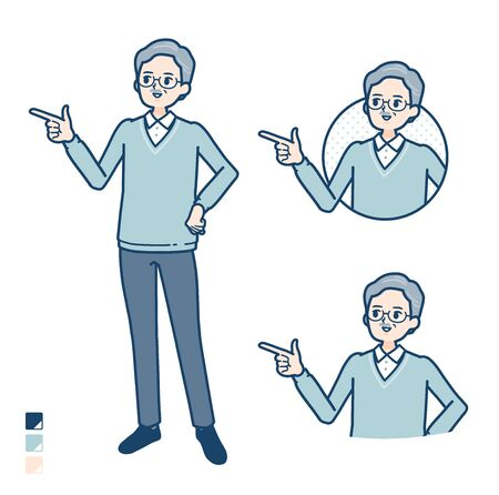 Senior Man with Explanation Pointing image.It's vector art so it's easy to edit. Illustration