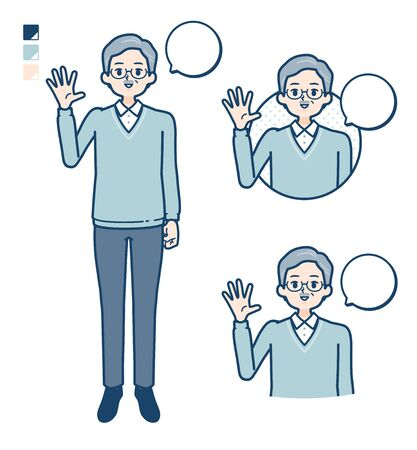 Senior Man with greeting images.It's vector art so it's easy to edit. Banco de Imagens - 150085060
