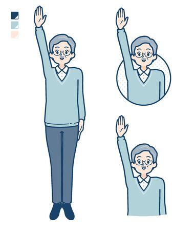 Senior Man with raise hand images.