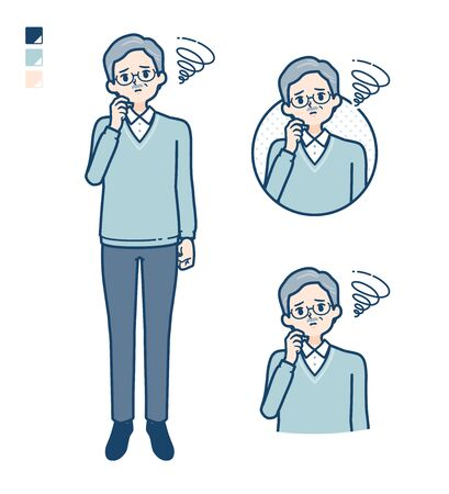 Senior Man with be troubled images.It's vector art so it's easy to edit.