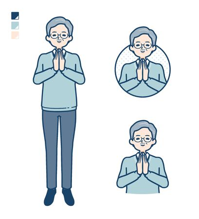 Senior Man with press hands in prayer images.