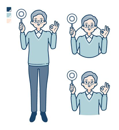 Senior Man with Put out a circle panel image.