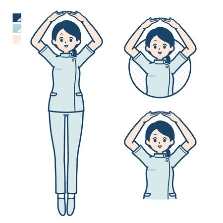 A young nurse woman with Making a circle with arms images.It's vector art so it's easy to edit.  イラスト・ベクター素材