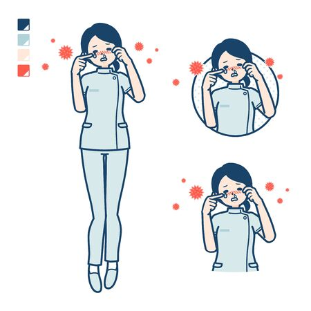 A young nurse woman with Suffer from pollen allergy images.