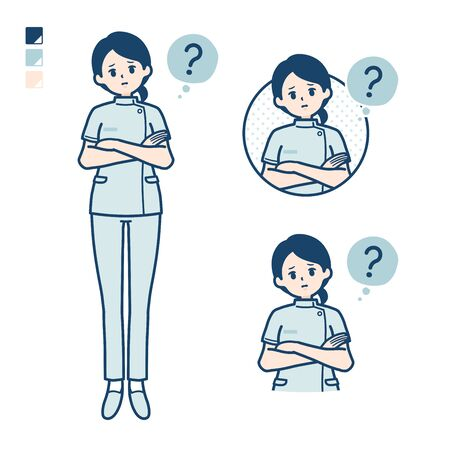 A young nurse woman with Question images.