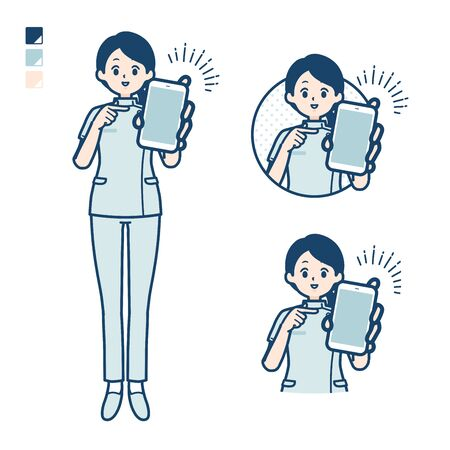 A young nurse woman with Offer a smartphone images.It's vector art so it's easy to edit. Illustration
