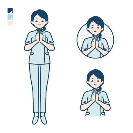 A young nurse woman with press hands in prayer images.It's vector art so it's easy to edit. Çizim